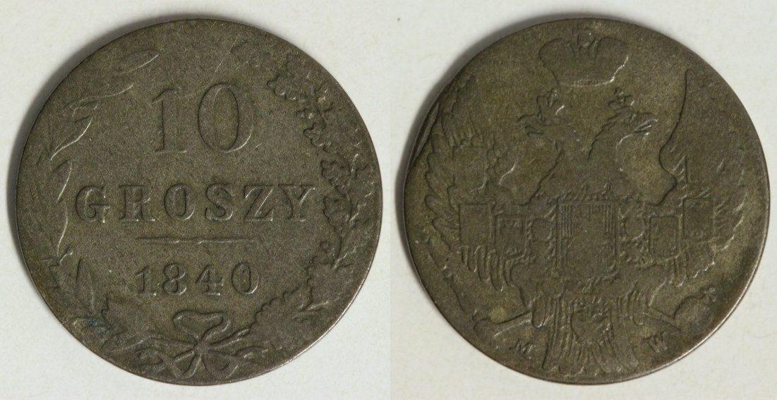 10 Groszy 1840 MW Polen Nikolaus I. f.ss/Srf.