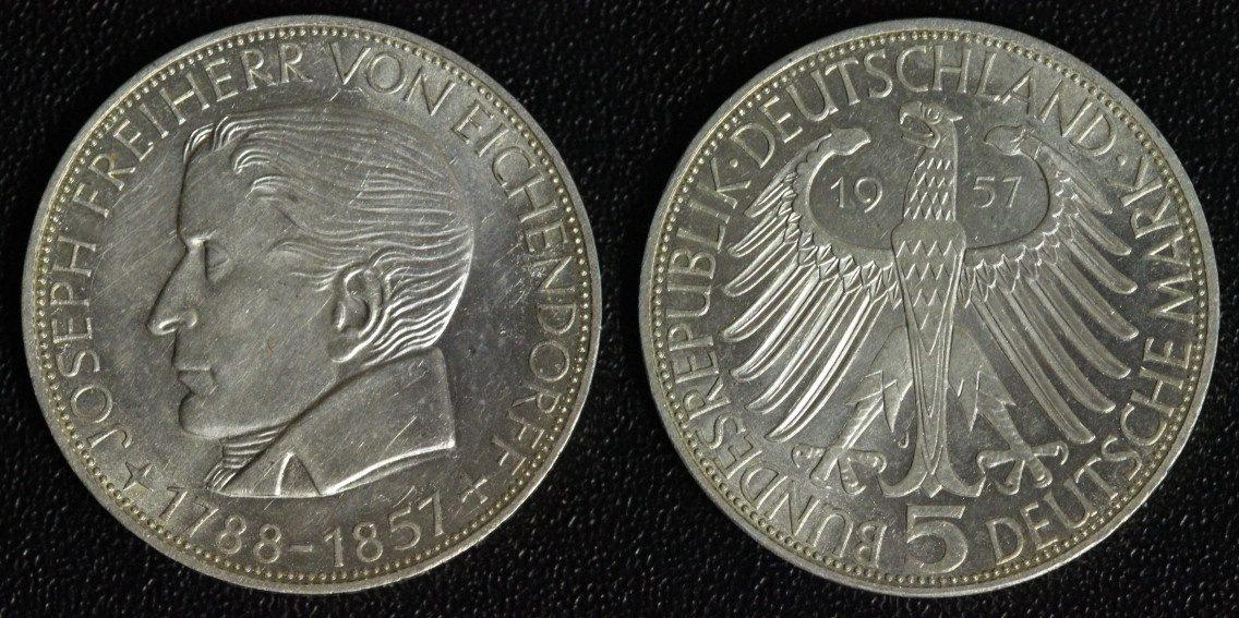5 Mark 1957 BRD Eichendorff vz-st/kl.Kr.