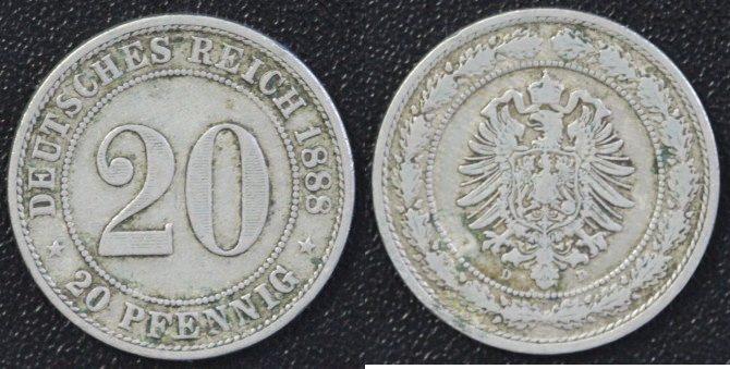 20 Pfennig 1888 D Deutschland 20 Pfennig 1888 D ss