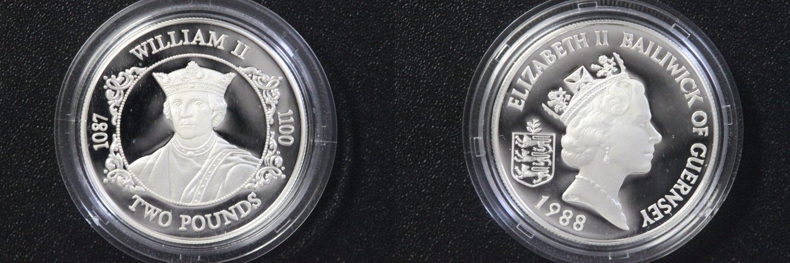 2 Pfund 1989 Guernsey 2 Pounds Guernsey 1989 1100. Todestag William II PP/Zert/Etui