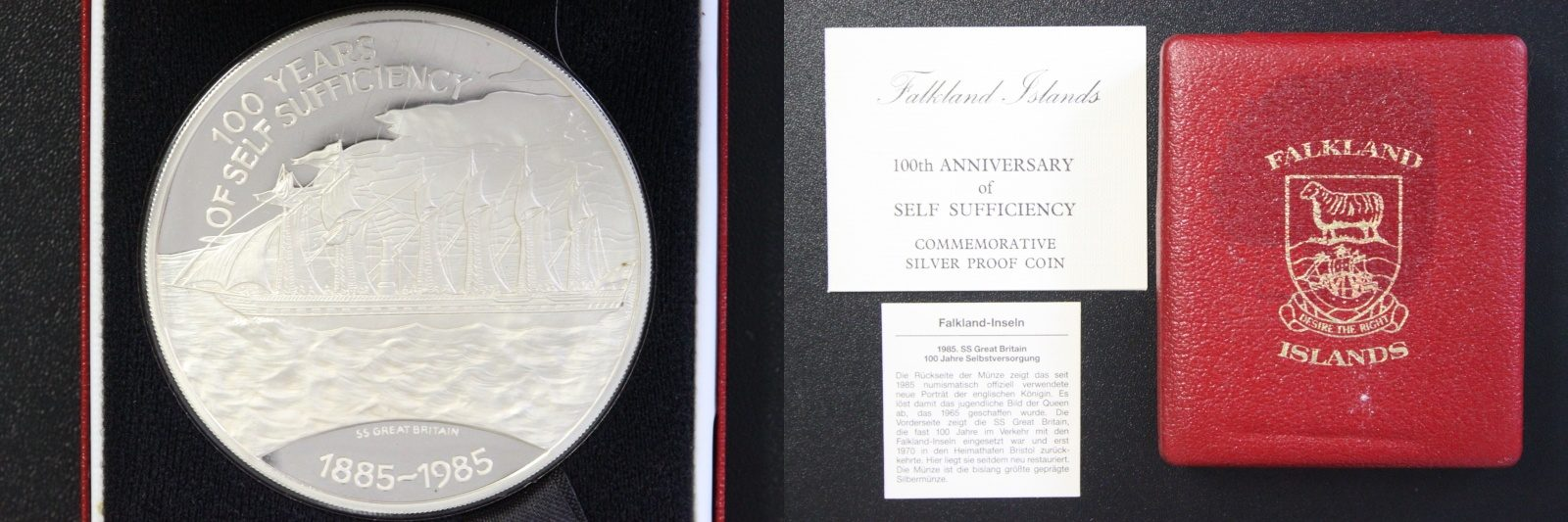 25 Pfund 1985 Falkland Inseln 25 Pounds Falkland Islands 100th Anniversary of Self Sufficiency PP/Etui*/Zert