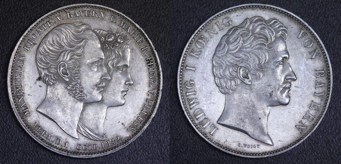 Doppeltaler 1842 Bayern Ludwig I. - Vermählung Maximilians (seltene Variante) ss+/kl. Rf.