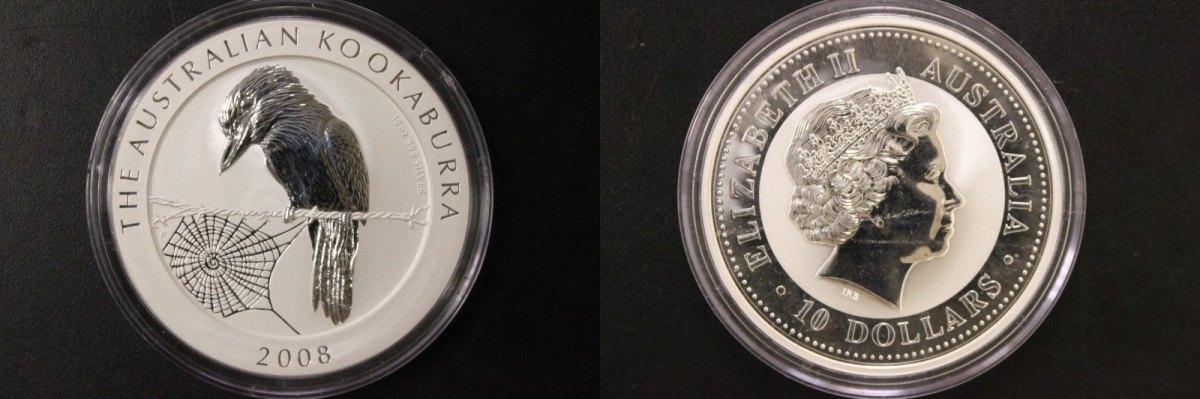 10 Dollars 2008 Australien 10 $ - 10 Oz Ag - Kookaburra 2008 st