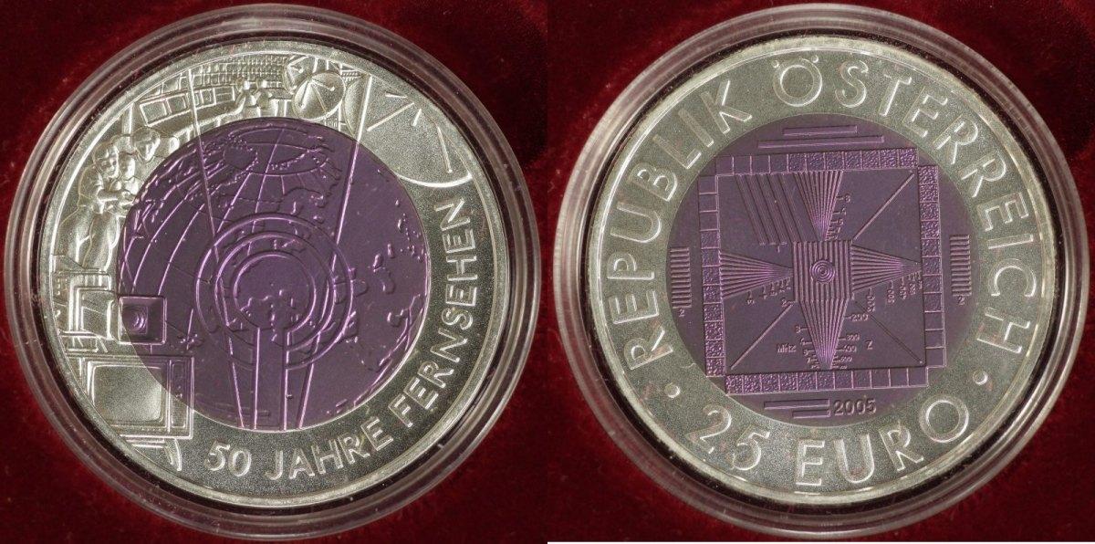 25 Euro 2005 Österreich 50 Jahre Fernsehen Hgh/OVP/Zert.