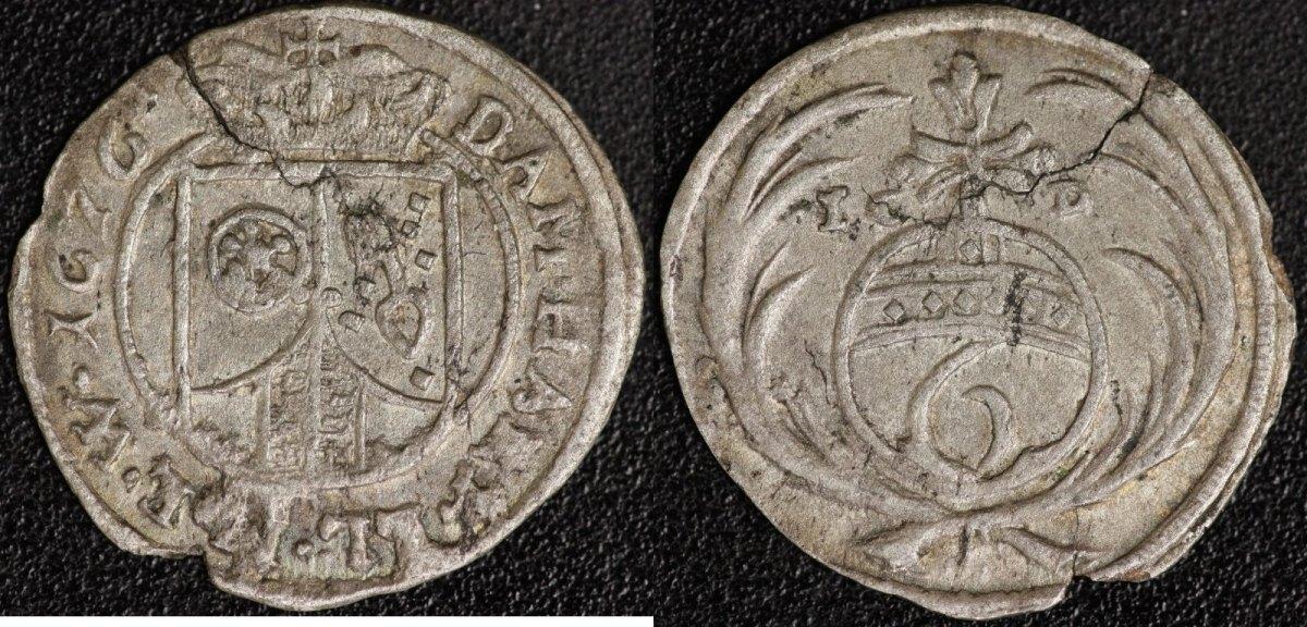 6 Pfennig 1676 Mainz/Erzbistum Mainz/Erzbistum ss, Schrötlingsriss