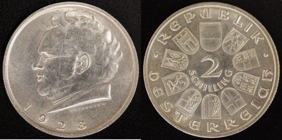2 Schilling 1928 Österreich 1. Republik Schubert vz