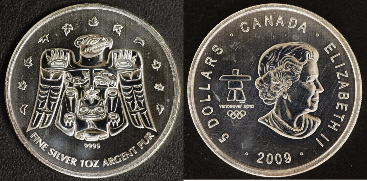 5 Dollar 2009 Kanada Olympiade Vancouver st, ber.