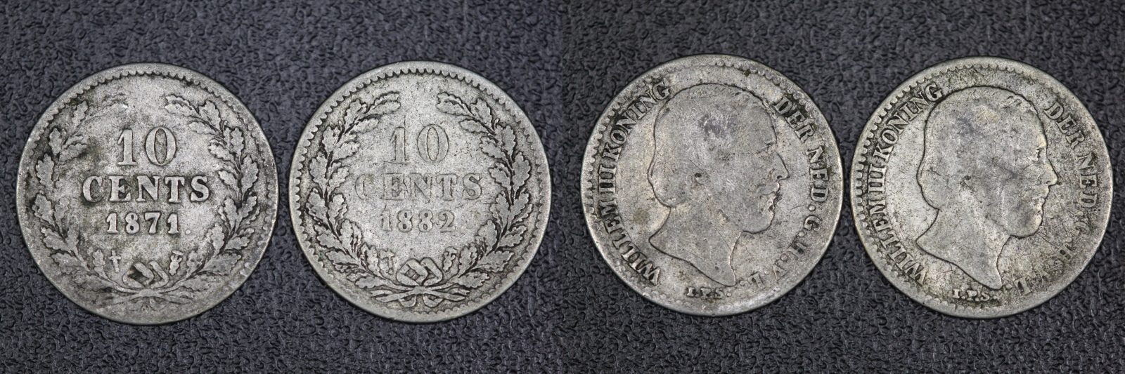 Lot (2 Stück) 10 Cents 1871/ 1882 Niederlande - Willem III. - s/ss