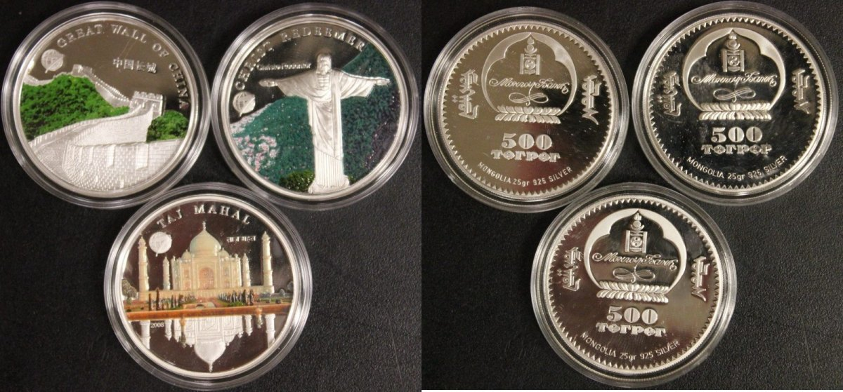 3x 500 Tugrik 2008 Mongolei 3x Farbmünzen PP