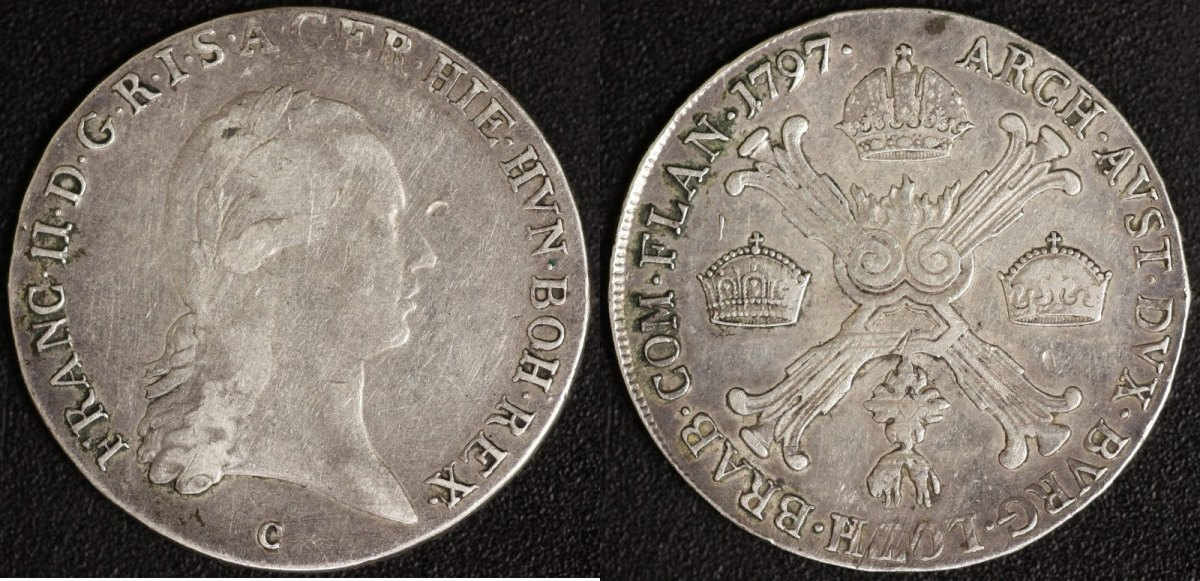 1/2 Kronentaler 1797 C Österreich Franz II. - Prag ss