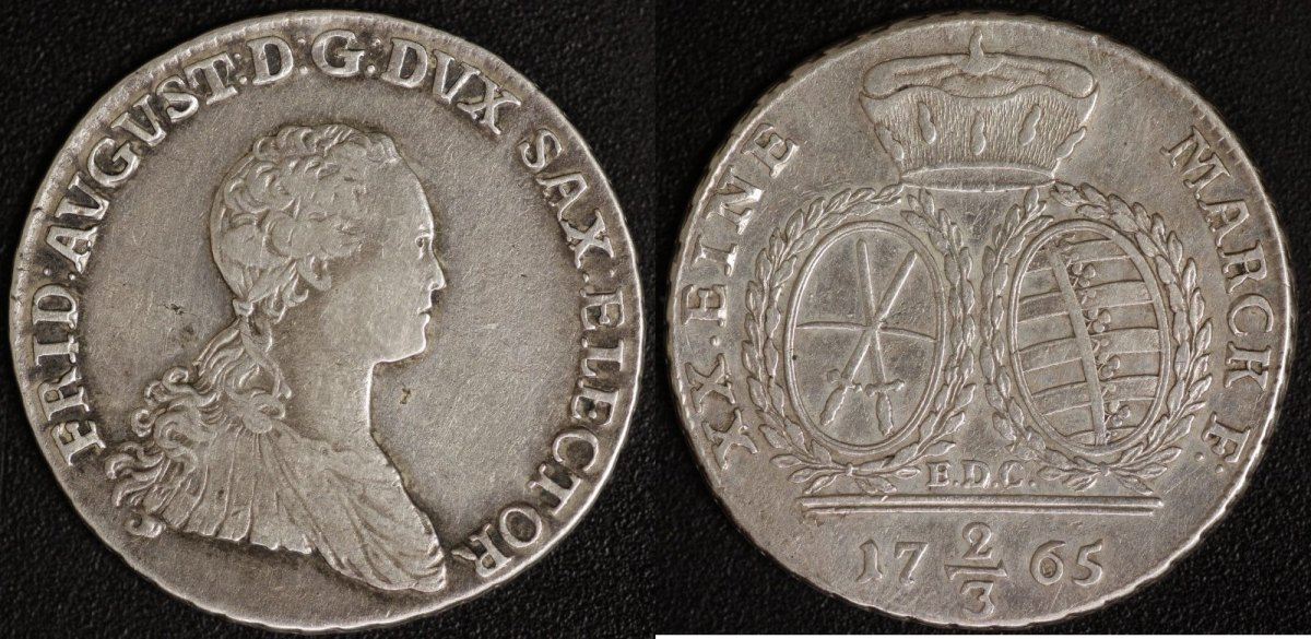 2/3 Taler 1765 Sachsen Friedrich August III. ss