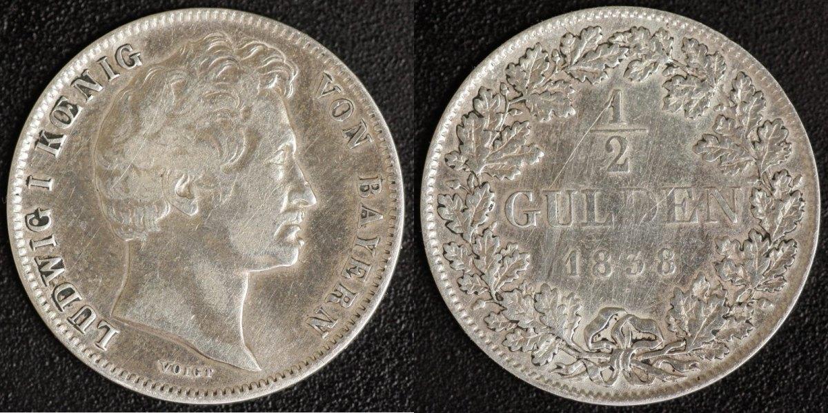 1/2 Gulden 1838 Bayern Ludwig I. s-ss