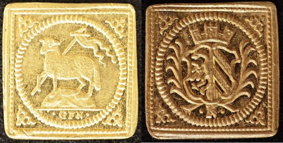 1/4 Dukatenklippe Lamm o.J.(1700) Nürnberg Georg Friedrich Nürnberger, vz-st