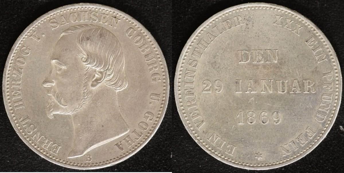 V-Taler 1869 Sachsen-Coburg-Gotha Ernst II. (1844-93) vzs-ss