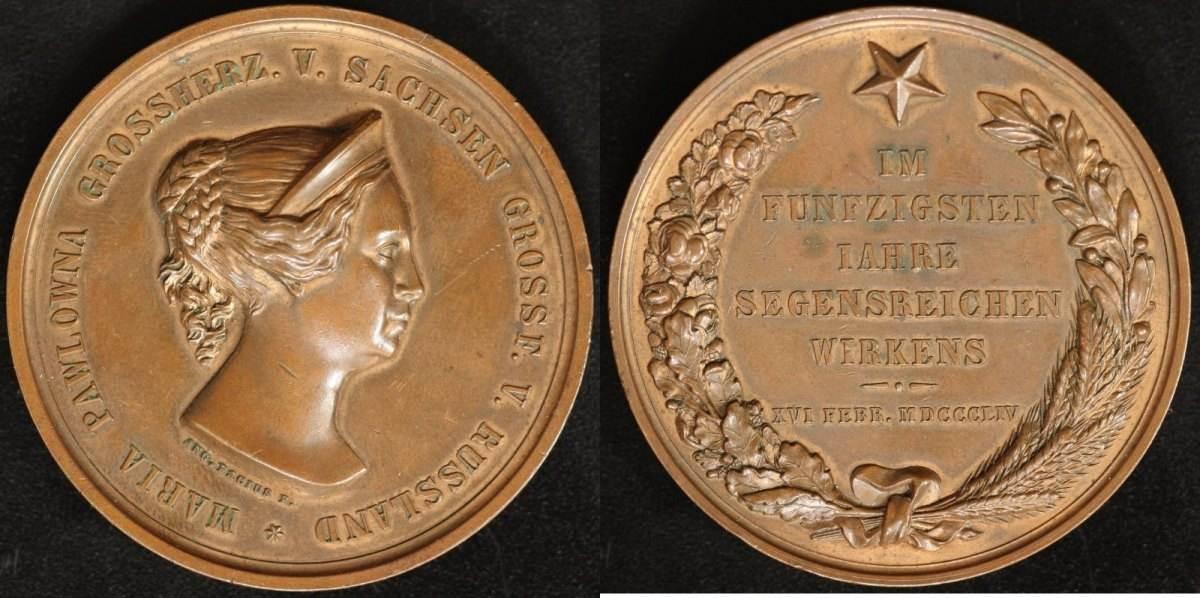 Bronze-Medaille 1854 Sachsen/Russland Nikolaus I. vz