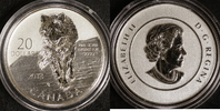 20 Dollar 2013 Kanada 1/4 Unze Wolf st.  18,00 EUR  zzgl. 5,00 EUR Versand