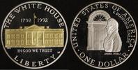 1 Dollar 1992 USA White House PP, teilvergoldet  20,00 EUR  zzgl. 5,00 EUR Versand