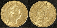 20 Mark 1888 Preußen Wilhelm II. ss, Rf.  320,00 EUR  zzgl. 5,00 EUR Versand