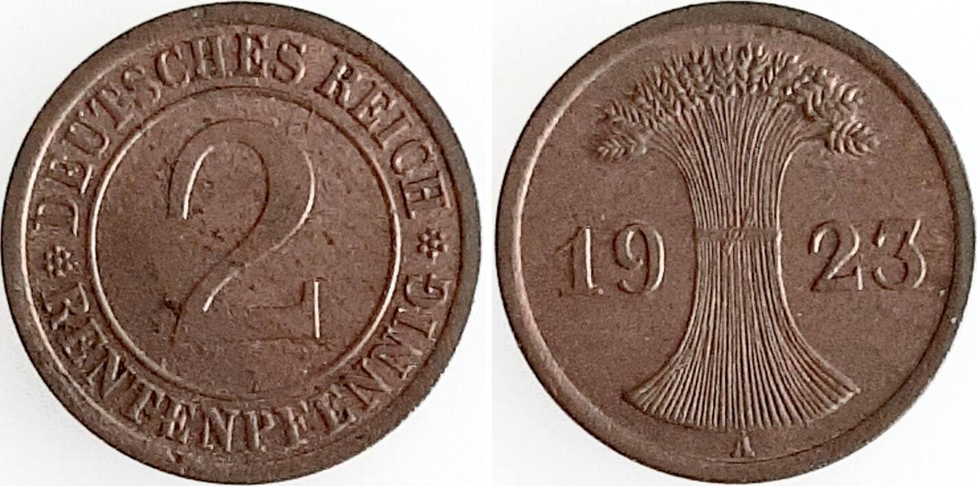 2 Pfennig 1923 A Weimarer Republik 1923A prfr fein !! prfr
