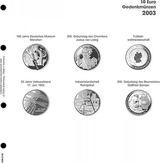 Vordruckblatt Karat 10 Euro Gedenkmünzen 2003 Deutschland Ma Shops