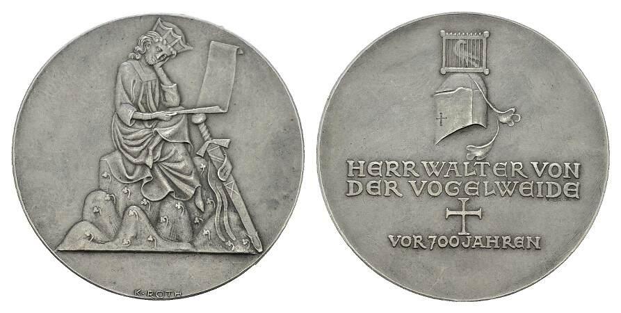 Silbermedaille (v.K.Roth) o.J. PERSONENMEDAILLEN von der Vogelweide, Walther. *um 1170, Ó1230. Patina mattiert. Vorzüglich +