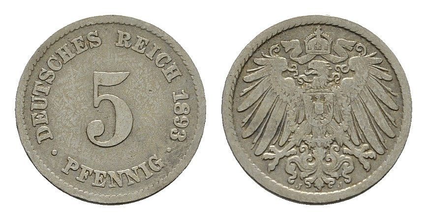 5 Pfennig 1893, J. Deutsches Reich Sehr schön