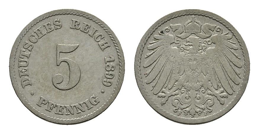 5 Pfennig 1899, F. Deutsches Reich Sehr schön-vorzüglich