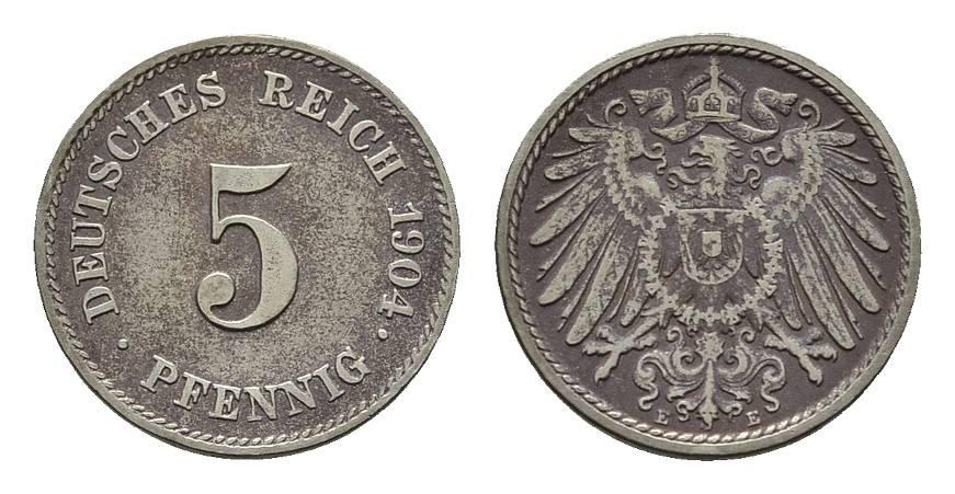 5 Pfennig 1904, E. Deutsches Reich Sehr schön +