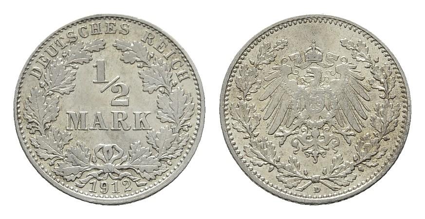 1/2 Mark 1912, D. Deutsches Reich Vorzüglich
