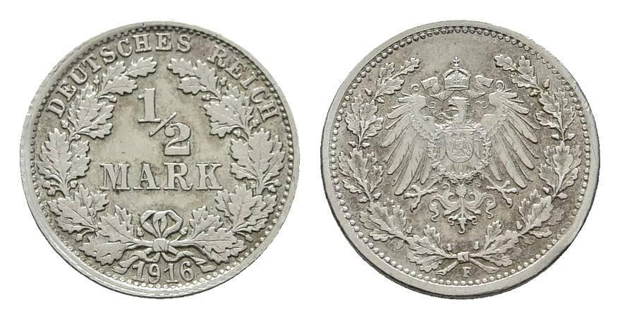 1/2 Mark 1916, F. Deutsches Reich Fast Stempelglanz
