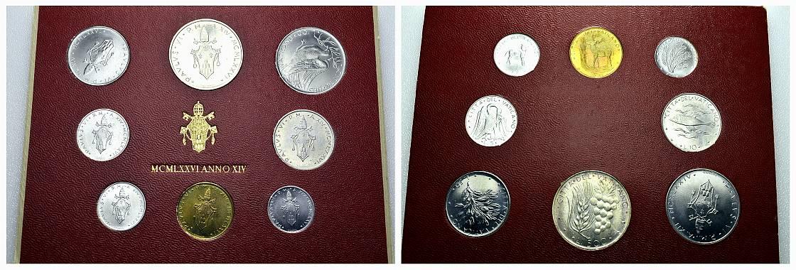 Kursmünzensatz (8 Stück) 1976, ANN0 XIV. ITALIEN Paul VI., 1963-1978. Stempelglanz.