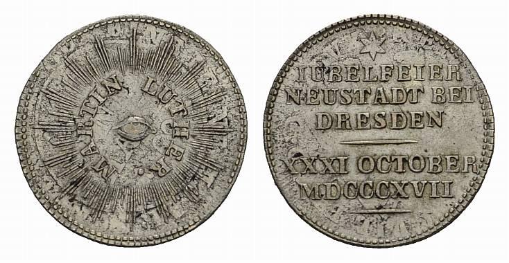 Silberabschlag des Dukaten 1817. NEUSTADT BEI DRESDEN Vorzüglich.