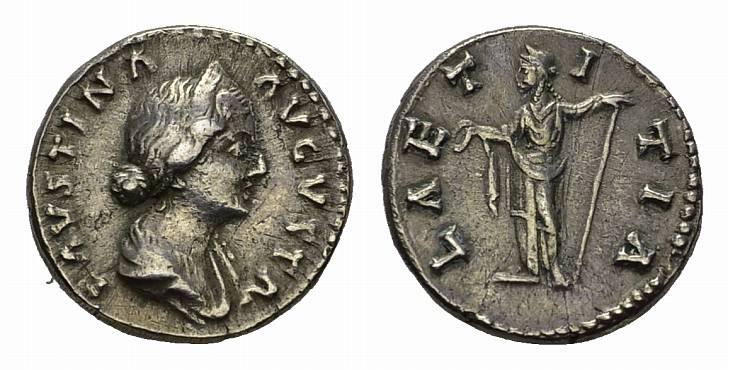 AR-Denar 161-175, Rom. RÖMISCHE KAISERZEIT Marcus Aurelius, 161-175 für Faustina II. Sehr schön-vorzüglich