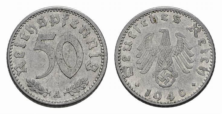 50 Reichspfennig 1940, A. DRITTES REICH Sehr schön-vorzüglich