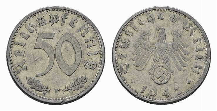 50 Reichspfennig 1942, F. DRITTES REICH Sehr schön +