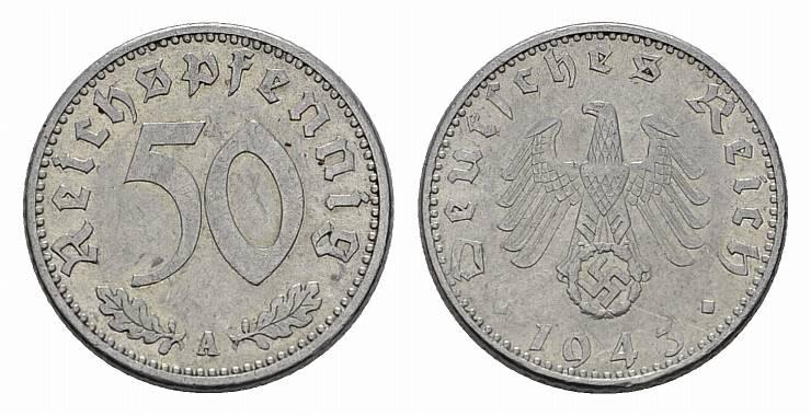 50 Reichspfennig 1943, A. DRITTES REICH Vorzüglich