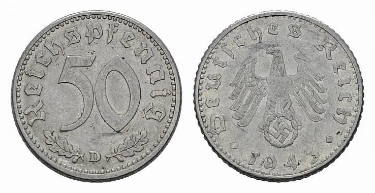 50 Reichspfennig 1943, D. DRITTES REICH Sehr schön +