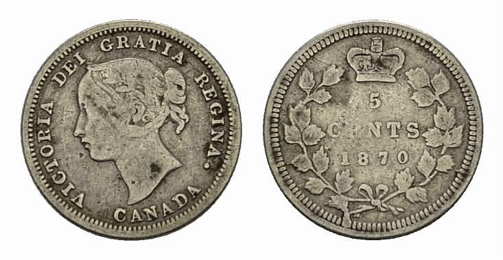 5 Cents 1870. KANADA Victoria, 1837-1901. Fast sehr schön