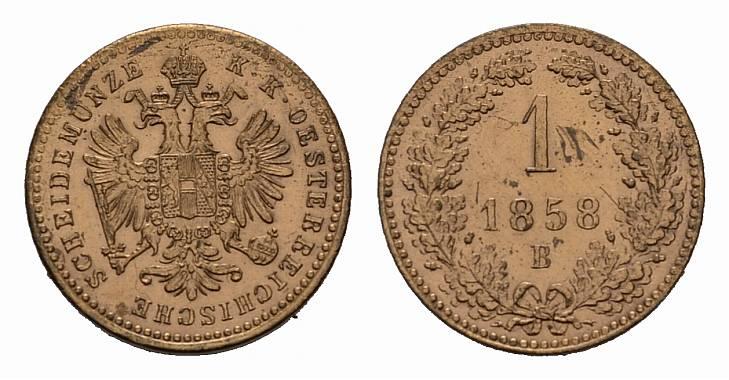 Ku.-Kreuzer 1858, B. KAISERREICH ÖSTERREICH Franz Josef I., 1848-1916. Stempelglanz