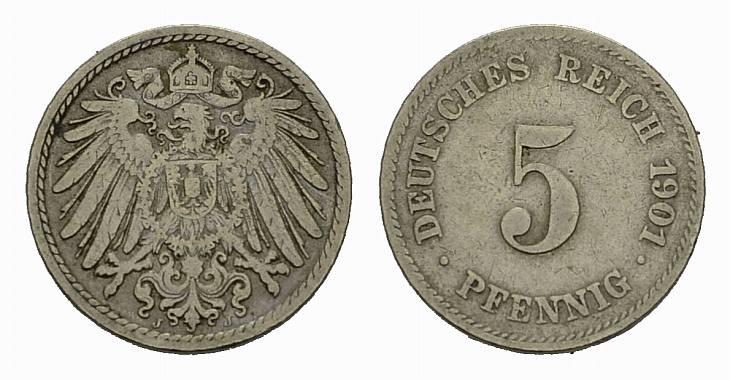 5 Pfennig 1901, J. Deutsches Reich Sehr schön +
