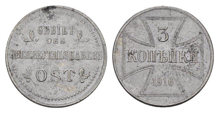 3 Kopeken 1916, J. GEBIET DES OBERBEFEHLSHABERS OST Kleine Flecken. Fast Stempelglanz