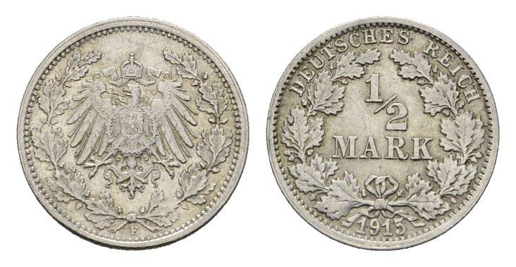 1/2 Mark 1915, F. Deutsches Reich Vorzüglich-stempelglanz.
