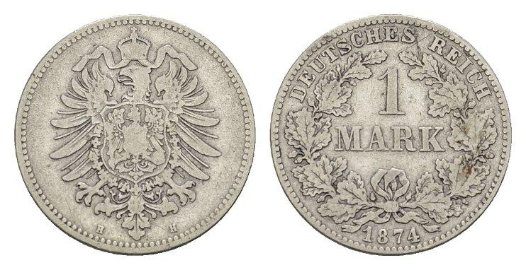 1 Mark 1874, H. Deutsches Reich Sehr schön.