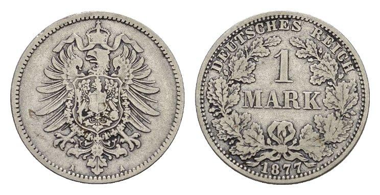 1 Mark 1877, A. Deutsches Reich Sehr schön.