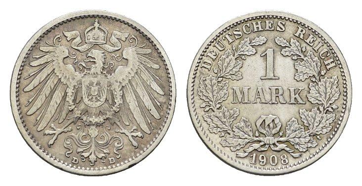 1 Mark 1908, D. Deutsches Reich Vorzüglich-stempelglanz.