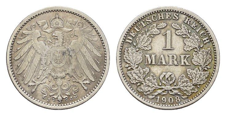 1 Mark 1908, J. Deutsches Reich Vorzüglich+.