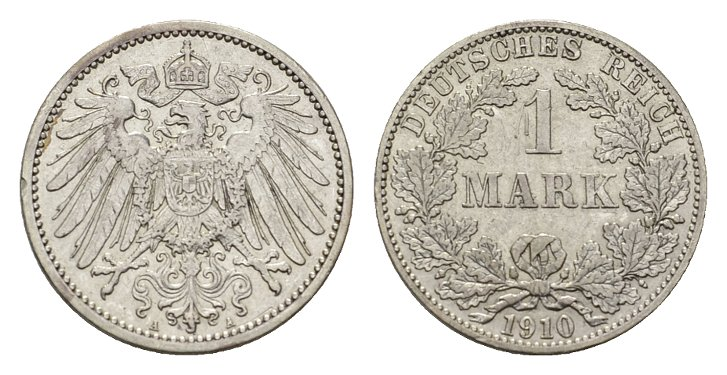 1 Mark 1910, A. Deutsches Reich Vorzüglich-stempelglanz.