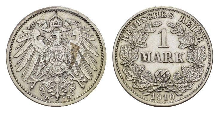 1 Mark 1910, D. Deutsches Reich Vorzüglich-stempelglanz.