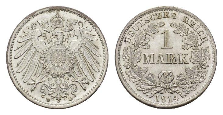 1 Mark 1914, D. Deutsches Reich Stempelglanz.