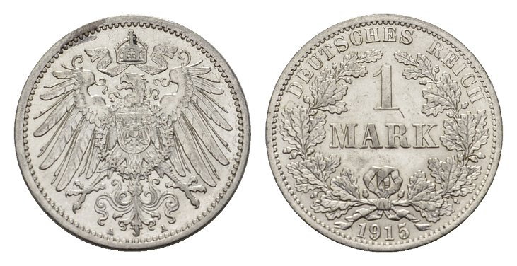 1 Mark 1915, A. Deutsches Reich Fast Stempelglanz/Stempelglanz.